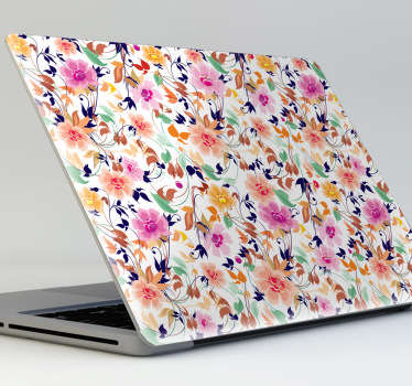 Decora tu ordenador como si fuera la pared de casa de tu abuela. Pegatinas para portátiles con un elegante y colorido patrón floral.