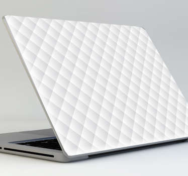 白色绗缝笔记本电脑贴纸