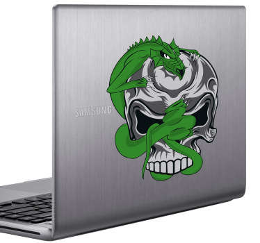 Dragon & Skull Laptop Sticker