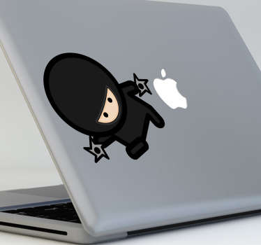 Decorate your MacBook or laptop with this cool sticker of a Ninja with throwing shurikens. A cute, cool and extraordinary design!