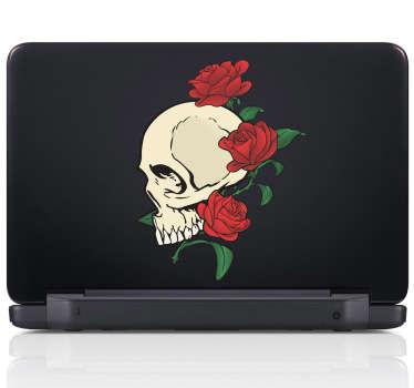 Laptop Aufkleber Totenkopf mit Rosen