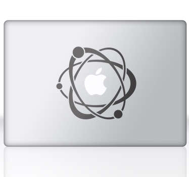 A science inspired design to give your laptop or Macbook a touch of originality. You can customise your tablet, laptop, iPad, MacBook or any other electrical device with a smooth surface. Group of electrons circling the atom that is the Apple logo.