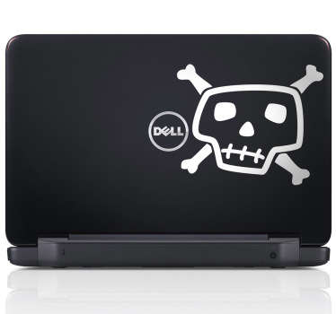 Sticker dessin tête de mort PC portable
