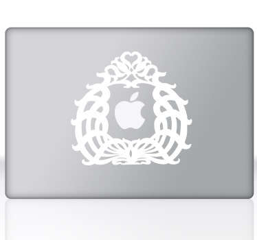 An ex-libris design theme to decorate your personal laptop. A decal from our collection of MacBook stickers.