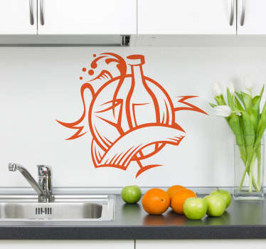 A kitchen sticker with an emblem design of a bottle of wine and a glass. Perfect for decorating your kitchen appliances, walls and cupboards.