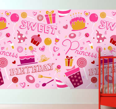 Kids Birthday Princess Vinyl Sheet Sticker