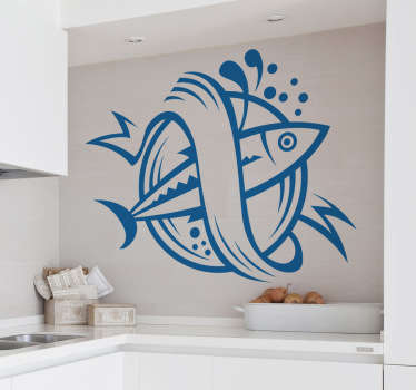 Kitchen Stickers - Fish theme emblem design. Decorate your kitchen appliances, walls and cupboards.Decals great for styling your home.