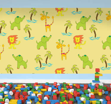 Vinyl Stickers - A fun and playful design with a safari theme ideal for decorating rooms for children.