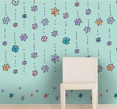 Naklejka tapeta deszcz kwiatów