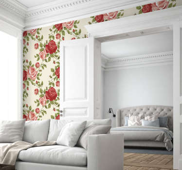 Nice wallpaper sticker with a floral pattern that will give a classic look to your walls.