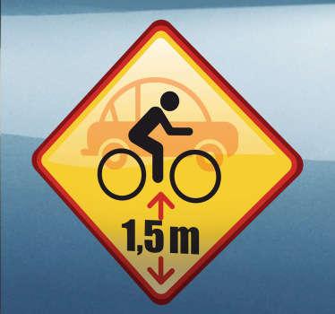 Fahrrad Überhol Schild Aufkleber