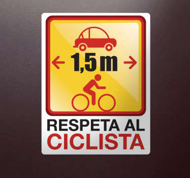 Versión enmarcada en blanco de una pegatina que deber servir para recordar la distancia mínima a mantener entre coche y bici.