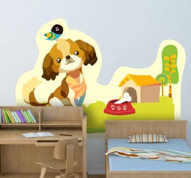Sticker enfant chien dans jardin