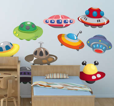 Decorate your child´s bedroom with these easy to apply UFO stickers. From our collection of space wall stickers. Allow this alien wall sticker to take them on an adventure through space!