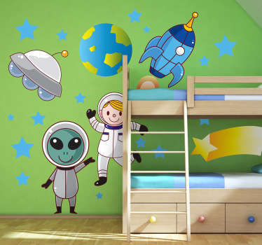 Kids Wall Stickers - Fun and playful illustrations of a young explorer and with an alien friend exploring the universe.