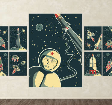 Kids Wall Stickers-Collection of original space themed prints. Astronauts, rockets, space ships, stars and planets. Ideal for little space explorers.