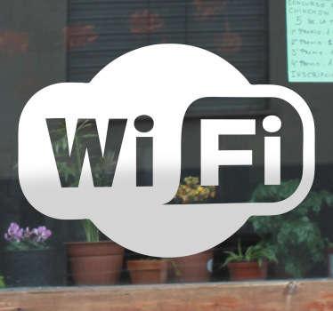 Indica a tus clientes con este reconocible adhesivo que en tu local tenéis conexión gratuita a internet.