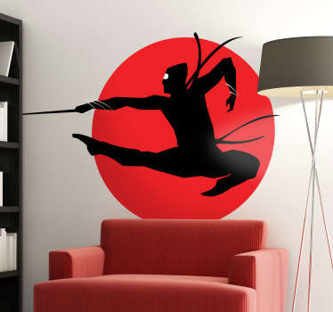 Decorate your home with this special wall sticker of an attacking ninja with a red circular background.