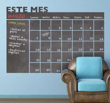 Autocolante calendário em quadro preto