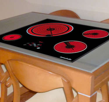 Scare your guests with this hot burning hob and stop them from touching this dangerous vinyl table sticker.
