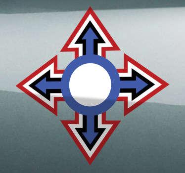 Sticker moto croix bleue et rouge