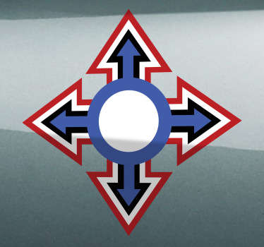 Auto sticker kruis pijlen