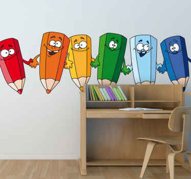 A fun children's wall sticker with various coloured pencils holding hands. Ideal for decorating the walls of an arts and crafts room.