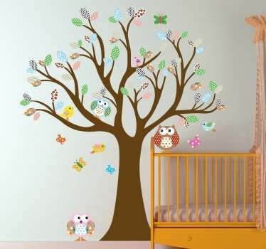 One of our designs from our owl wall stickers collection illustrating a colourful bush, tree owls, various birds and some butterflies.
