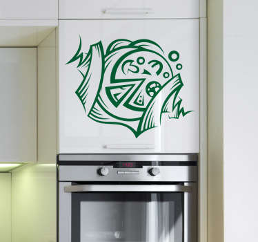 Kitchen Stickers - pizza emblem. Decorate your kitchen appliances, walls and cupboards.Decals great for styling your home.