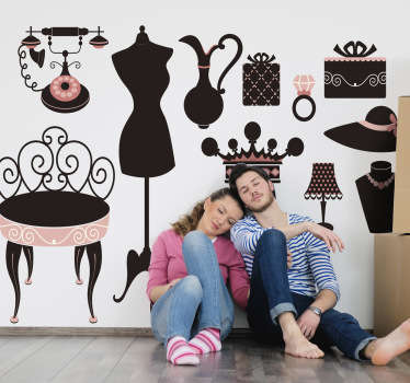 This wall sticker set consists of many classic furniture and other accessories such as a telephone from the 60s, etc.