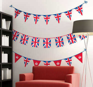 Union flag bunting banners to decorate your home or business. Set of three British banners from our collection of bunting wall stickers.