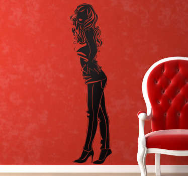 Sticker mural jeune femme profil