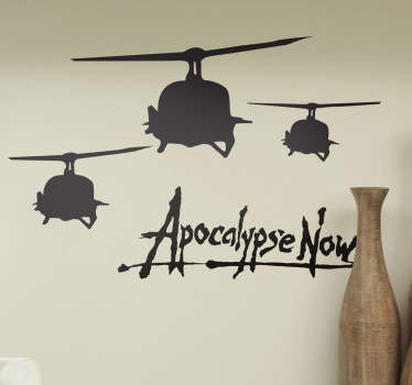 Cinema theme wall decal featured with aircraft drawing with the text  ''apocalypse now''. It is available in any required size.