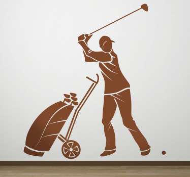 A decorative sticker of a professional golfer preparing his swing to make sure he gets as close as possible to the hole.