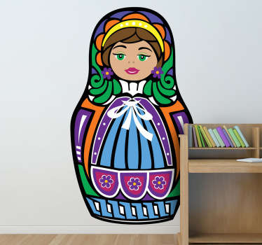 A sticker representing a russian doll. Great for personal decoration.