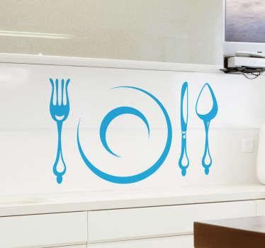Autocolante decorativo prato e talheres