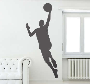 Sport stickers representing a basketball player in action about to shoot a goal.