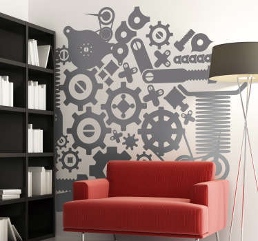Wall Stickers - Mechanical illustration. Available in various sizes and in 50 colours. Long lasting decals made from high quality vinyl.