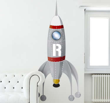 Kids Stickers - Rocket ship illustration. Ideal for aspiring space explorers. Great for decorating kids bedrooms and play areas.