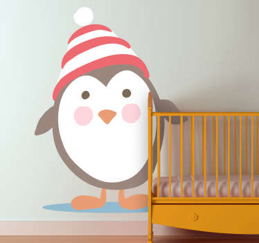 An original playful and fun illustration of an adorable penguin in a red and white hat from our collection of penguin wall stickers.