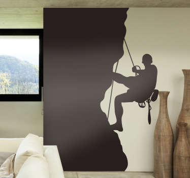 Extreme Sports Stickers - perfect silhouette decal for lovers of mountain climbing and bouldering. This rock climbing wall sticker is available in a wide variety of colours, not just black, and is perfect for personalising your living room or bedroom.