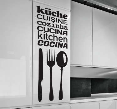 An original monochrome text sticker combined with 3 pieces of cutlery in 6 different languages. Available to purchase in 50 different colours.