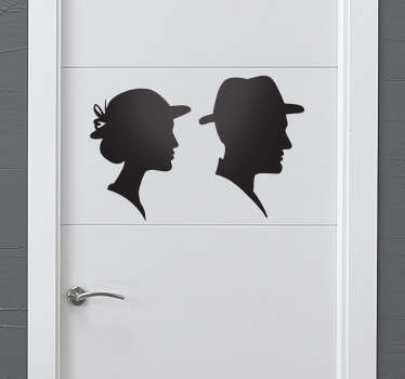 Silhuett mann og kvinne toalett klistremerke