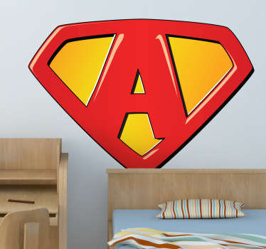 Anthony, Alex, Adam, Alice, Anna, Abbie... Ideal sticker for your kids wall especially if your kid's name starts with an A. Decorate your child's room with this superhero symbol wall sticker.