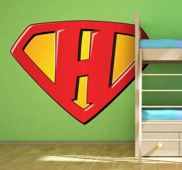 Super Hero H Kids Sticker