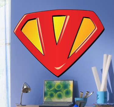 Sticker enfant super-héros lettre V