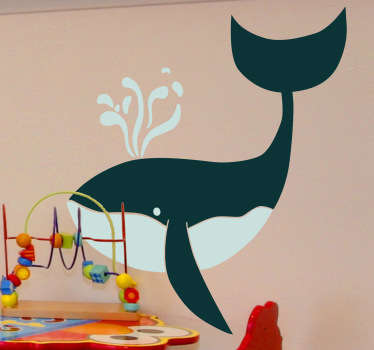 Kids Wall Stickers - Playful and fun illustration of a friendly whale.  Ideal for decorating childrens bedrooms. Made from high quality vinyl.