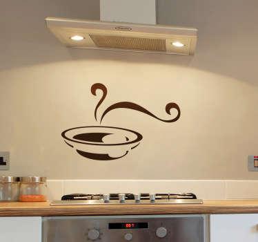 Verzieren Sie Ihre Wand oder Ihre Küchenfront mit diesem Wandtattoo eines dampfenden Suppentellers.