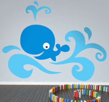 Fun and cheerful blue whale wall sticker swimming in the ocean and blowing water out its spout. This simple vibrant design shows a smiling blue whale amongst the waves, ideal for decorating the nursery, bedrooms or play areas for kids, or adding that colourful touch to your bathroom!