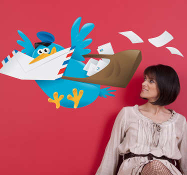Kids Wall Stickers - Playful and fun illustration of a blue bird delivering post. Ideal for decorating areas for children.